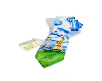 """Hand painted silk tie-""""Lighthouse"""""""