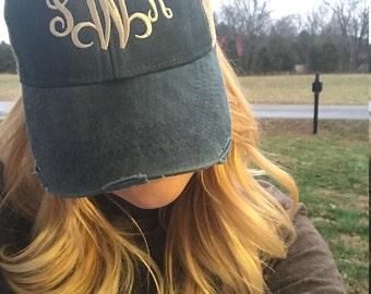 Monogrammed Distressed Trucker Hat - Embroidered trucker hat - Monogrammed hat - Embroidered Monogrammed Hat - Custom Trucker Hat