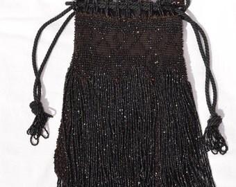 Vintage Beaded Black Drawstring Evening Bag, Glass Bead Fringe Handbag, Purse for Formal Event