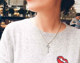 Lips Brooch, Bead Embroidery Brooch, Handmade Brooch, Handmade Jewelry