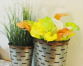 Galvanized Olive Buckets, Oval Olive Buckets, Galvanized home decor, Kitchen Decor, Galvanize flower pot, Galvanized decor, Farmhouse decor