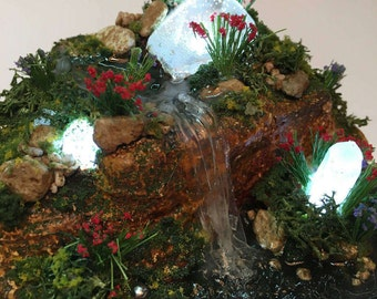 Miniature Illuminated Waterfall Landscape with Crystals