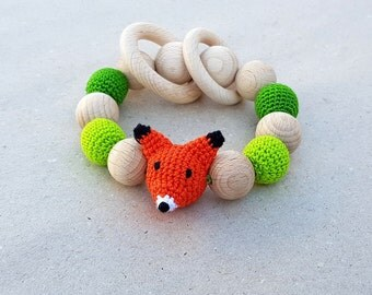 Wooden teether, Fox Rattle, Wooden Teething ring, Crochet rattle, Organic Teething Toy Natural Teether Baby Shower gift Newborn unisex gift