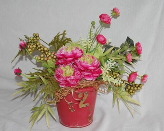Silk Floral Arrangement,Floral Event decor,French Farmhouse,Shabby Chic decor //pink,red,gold,green,cream//Silk Floral Decor