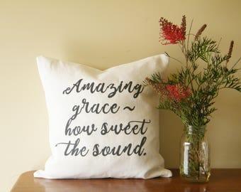 Amazing Grace cushion cover ~ white linen. Scripture cushion. Scripture pillow.  Amazing Grace pillow.