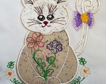 Sweet Kitty Applique - Machine Embroidery Design