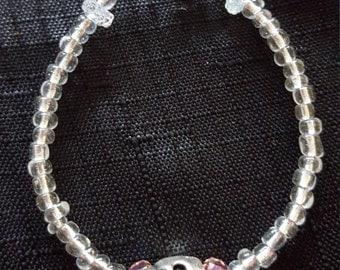 Metal Skull and Jewels beaded bracelet