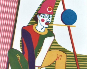 Art print linocut Harlequin with mat 20 x 30