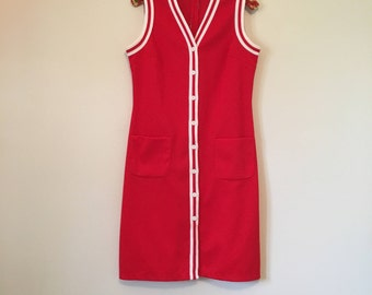 Vintage tomato red shift dress with white accents and front patch pockets