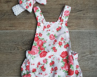 baby romper, red, white, floral, cotton, summer, headband, baby fashion, baby set