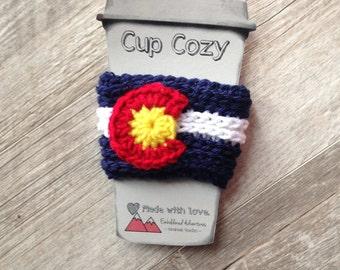 Crocheted Colorado Coffee Cozy