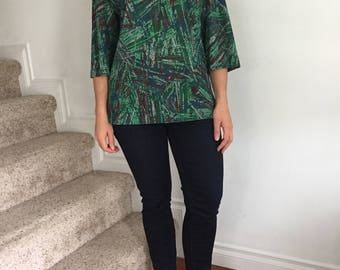Green and Maroon Brutalist Pattern Tunic Shirt from the 1970s
