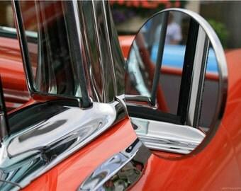 Classic Car Chrome Abstract Photograph - 8x10 Liberty Images Classic Car Photography - Orange and Chrome - Vintage Car Artwork - Retro Photo