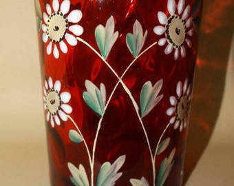 Antique Czech Bohemian, Cut Etched Vase, Jar, Hand Painted Daisy, Ruby Red Vase, Wild Flowers, Art Glass