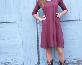 Hemp Stretch Pocket Dress, Organic Cotton Clothing, Custom Made Dress by Yana Dee, Made in Any Size and Many Colors to Choose From