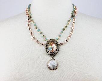 Mermaid Assemblage Necklace John Waterhouse Pendant Seashell Rhinestone Filigree Statement Necklace Vintage Impression