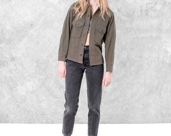 ARMY wool OVERSIZE shirt GREEN vintage Women Men long sleeves Spring jacket coat / Small better stay together