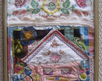 AMAZING GRACE -  Bird Flowers Cottage - Folk Art Fabric Collage - Vintage Materials -  myBonny Random Scraps Wall Quilt Assemblage