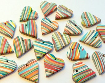 Rainbow Marbled Top Drilled 20 mm Handmade Polymer Clay Heart Beads Quantity 10