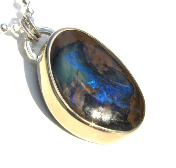 Australian Boulder Opal necklace Sterling Silver with 14K Gold - blue and brown opal necklace - boulder opal pendant - floral opal necklace
