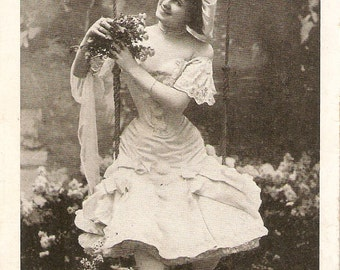 Girl  swinging real photo vintage postcard, French antique postcard, carte postale, RPPC