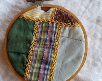 Antique Crazy Quilt Framed in a Tiny Hoop, Wall Art, Victorian, Sewing Room Inspiration