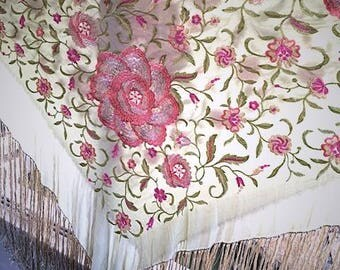 Antique 1920s Flapper Era Vintage Embroidered Silk Piano Shawl . 20s Pink Floral on Green Silk. Long 17 inch Cream Fringe . Boho Scarf Wrap