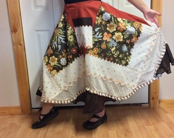 Patchwork Floral Skirt with Pockets/Plus Size Skirt/Maxi Skirt/Midi Skirt/Autumn Colors/Gypsy/Hippie/Folk/Country/Skirts for Women Size XL
