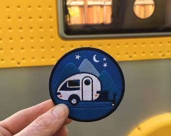 Tiny Trailer Embroidered Patch, Tab Trailer, Happy Camper, Teardrop, Camping Badge, Caravan