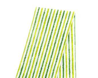 Set of 4 Cotton Dinner Napkins/Wavy Stripes in Green