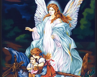 "Fabri-Quilt ""Guardian Angel"" #112-26601 Religious Christian Cotton Fabric Priced Per Panel 23""x44"""
