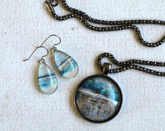 Glass Jewelry Set- Teal, Grey and White Jewelry- Glass Pendant with Glass Tear Drop  Earrings- Titanium Earrings- Made from Upcycled Paper
