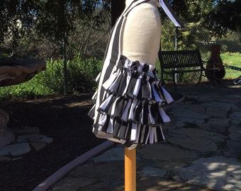 Ruffled Bottom Bubble Romper Sunsuit  in Black and White Stripes for Baby Girls