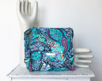Turquoise Cross Body Bag -BLUEBERRY COSMOPOLITAN by jennjohn- Navy, pink, turquoise, yellow, Amy Butler paisley fabric, adjustable strap