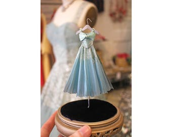 Miniature Handpainted Paper Dress & Dome