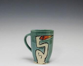 Hand Thrown Mug: Heron Coffee Mug, Ceramic Pottery