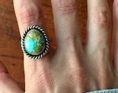 Cheyenne Turquoise Sterling Silver Stamped Ring - size 9 - Boho Hippie Gypsy Ponderbird