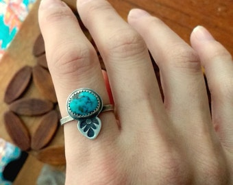 Stenich Turquoise Sterling Silver Boho Stamped Ring - Size 7.5 - bohemian hippie ponderbird