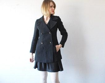 60s wool coat. black pea coat. fitted coat. short 60s coat. double breasted coat - xs