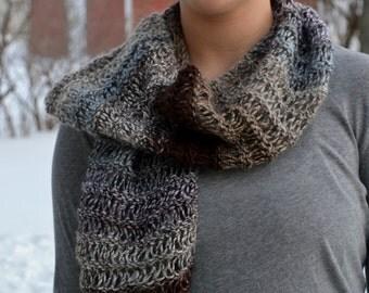 Hand Knit Drop Stitch Scarf, HEARST, alpaca bamboo wool blend, brown cream gray blue (1145)