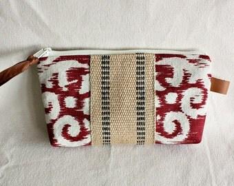 Pouch clutch zipper purse makeup bag wallet currant cream with jute webbing trim- READY