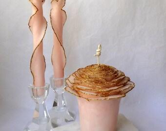 Blush and Gold Wedding Unity Candle Set, Glitter Unity Wedding Candle, Blush Wedding, Blush Pink Beeswax Rose Candle, Gold Unity Candle