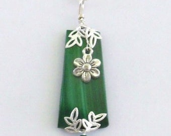 Malachite Pendant, Wire Wrapped Pendant, Handmade Flower Pendant, Healing Pendant, Gifts for Her, Made in the USA, Pendant Necklace