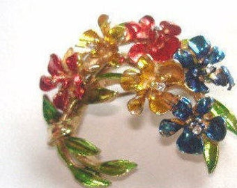 Flowers  Signed Art  Rhinestone Brooch Multi Tone