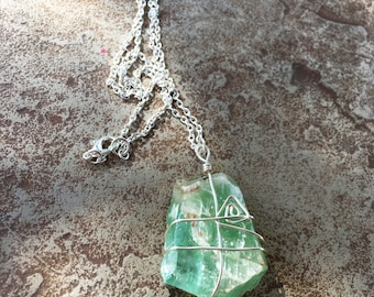 Green Crystal Necklace, Calcite Crystal Wire Wrapped Necklace, Mint Green Necklace, Wire Wrapped Jewelry, Handmade Crystal Healing Necklace