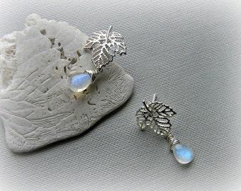 Rainbow moonstone earrings, moonstone silver earrings, leaf earrings, bridal jewellery, moonstone post earrings, studs with gemstone dangle
