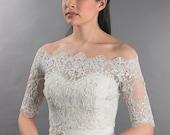 Bridal bolero, Off-Shoulder, lace bolero, wedding bolero, wedding jacket, lace shrug, bridal jacket, bridal lace top, Alencon Lace