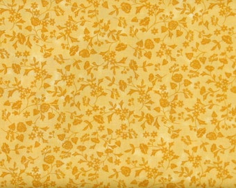 Gold (Dark Yellow) Tone-on-Tone Small Floral 100% Cotton Quilt Fabric Blender, Red Rooster's Baltimore Spring Collection, RER463726163-Yel1