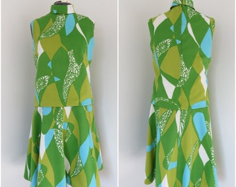 1960s Bright Green & Blue Dropwaist Dress with Flared Skirt - Womens Bust 37 - Burt Stanley California