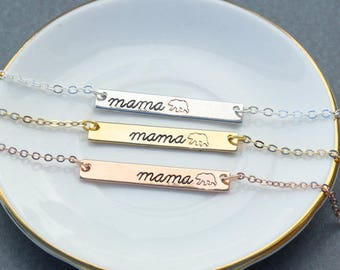 Mama Bear Necklace • Silver Mama Bear Jewelry Rose Gold Mama Bear Gift • Handstamped Mama Bear Bar • Mama Gift New Mama Necklace